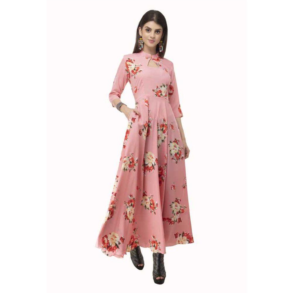 Women Western Maxi Dress Floral   Pink