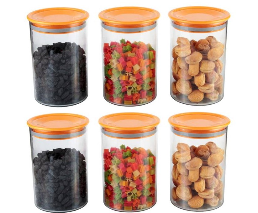 Air Tight Container Orange 900ml   900 ml Glass Bread Container, Fridge Container, Honey Jar, Tea Coffee Sugar Contain