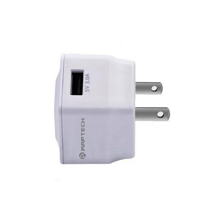 Raptech 2.0 AMP Travel Adapter India Standard Adapter Compatible With All Android Mobile Charger, Smart Charger  WHITE
