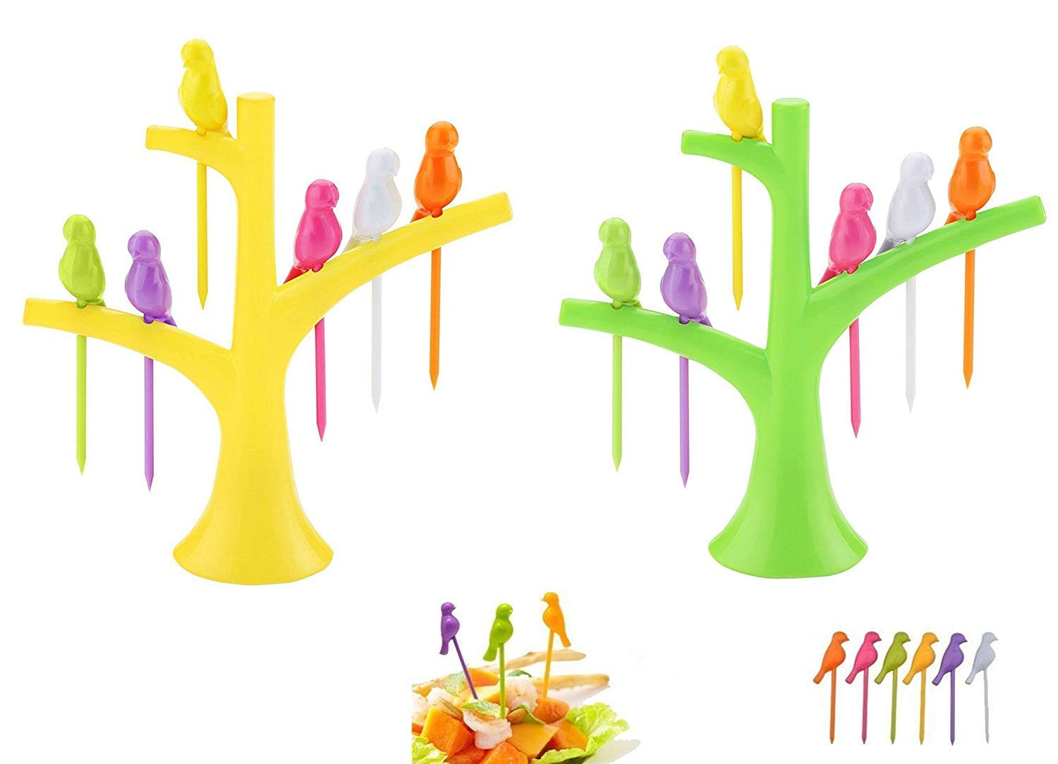 Birdie Plastic Fruit Fork Set with Stand, 6 Pieces, Multicolour