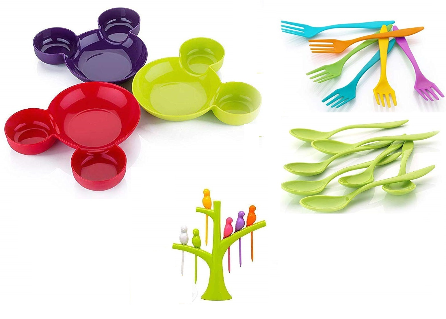 Unbreakable Eco Friendly Children's Mickey Minnie Shaped Serving Food Plate with Spoon Fork  set of 3  and Fruit Fork