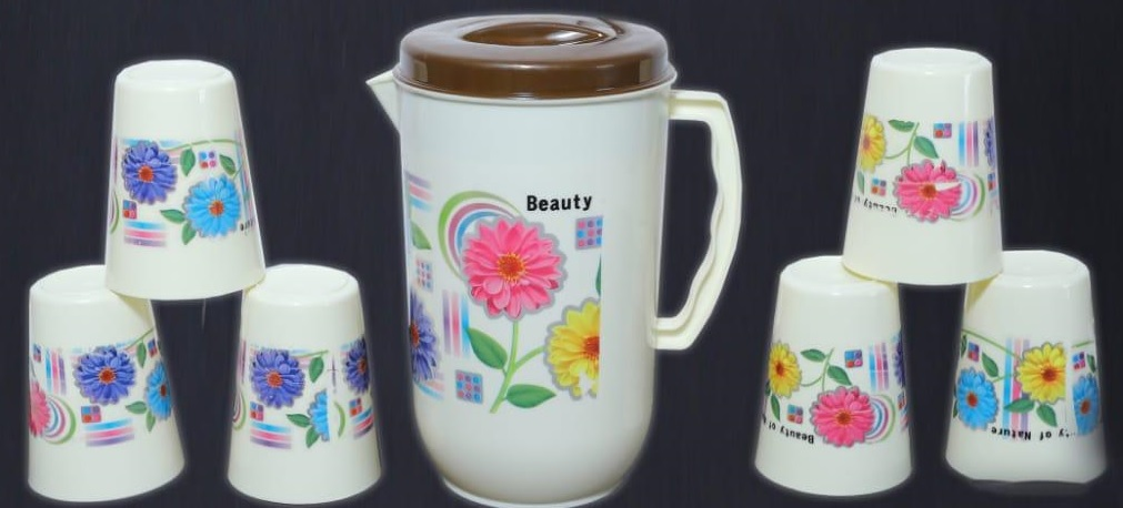Plastic jug with set of 6 cold drink glass Jug Glass Tray Set