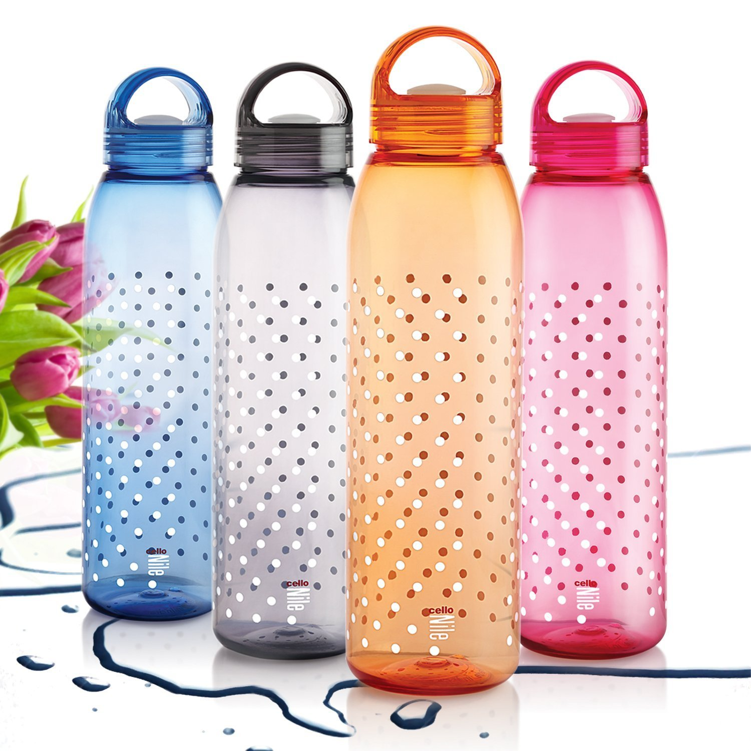 Cello NILE 1000 ML WATER BOTTLES  MULTICOLOR  SET OF 4