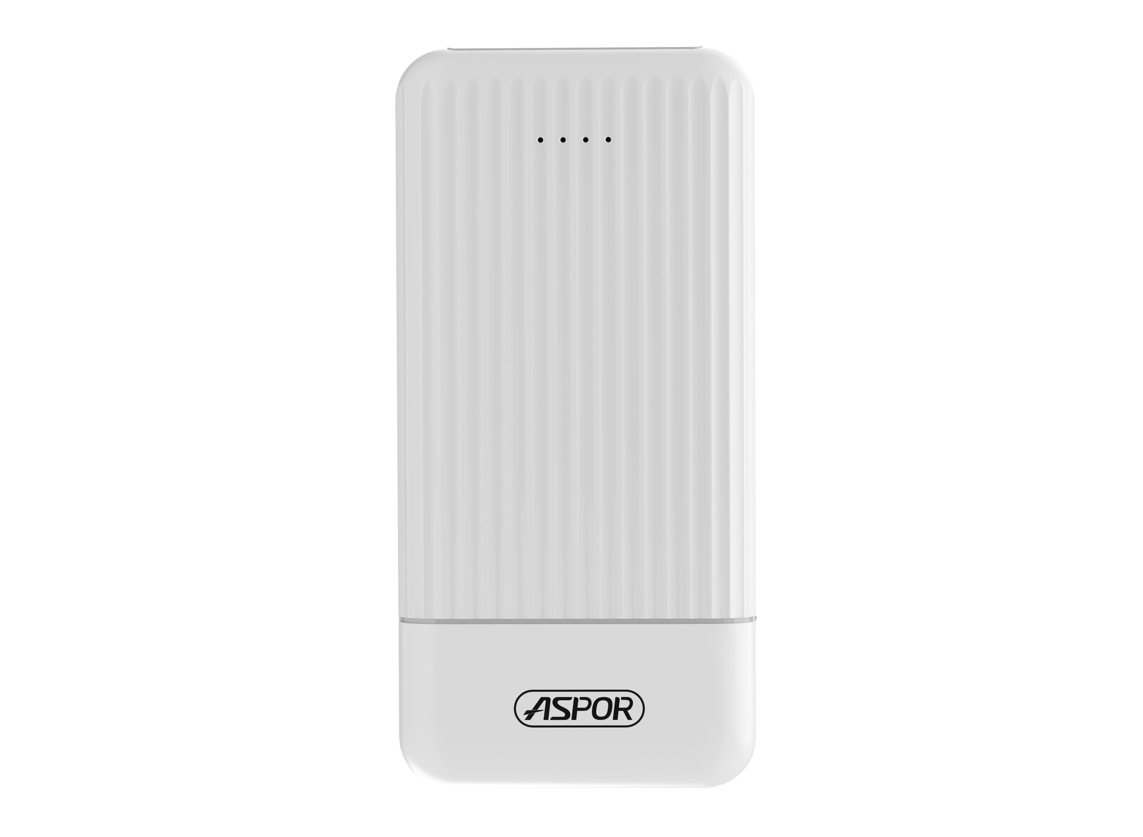 Aspor 10000Mah Li Polymer Fast Charging Mobile Power Bank White A335