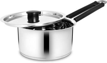 BERTOL KITCHENWARE Stainless Steel Saucepan Induction base With Steel Lid Sauce Pan 18 cm diameter with Lid