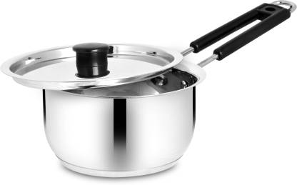 BERTOL KITCHENWARE Stainless Steel Induction Base Belly Saucepan With Steel Lid Sauce Pan 16 cm diameter with Lid