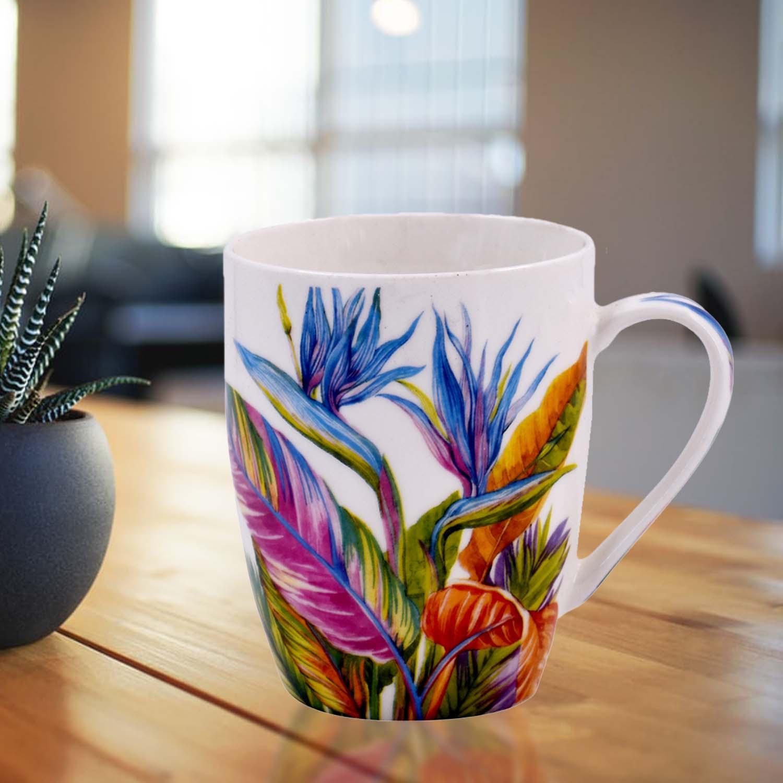Printed Ceramic Coffee Mug, Leaves Design   325ml  4039G A