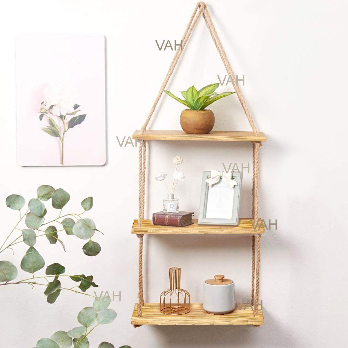 VAH Wall Hanging Shelf, Real pine Wood Floating Shelves for Wall Rustic Rope Shelves Plant Shelf Farmhouse Decor for Li