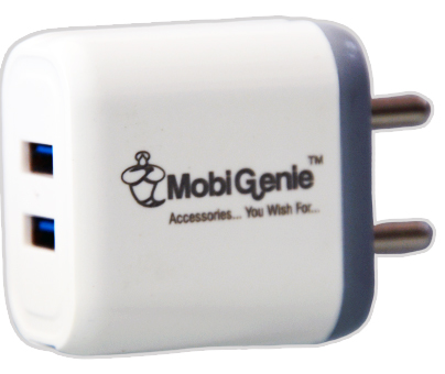 MobiGenie Mobile Charger 3.1 AMP Dual USB Port Turbo fast Charger with Micro USB Data Cable