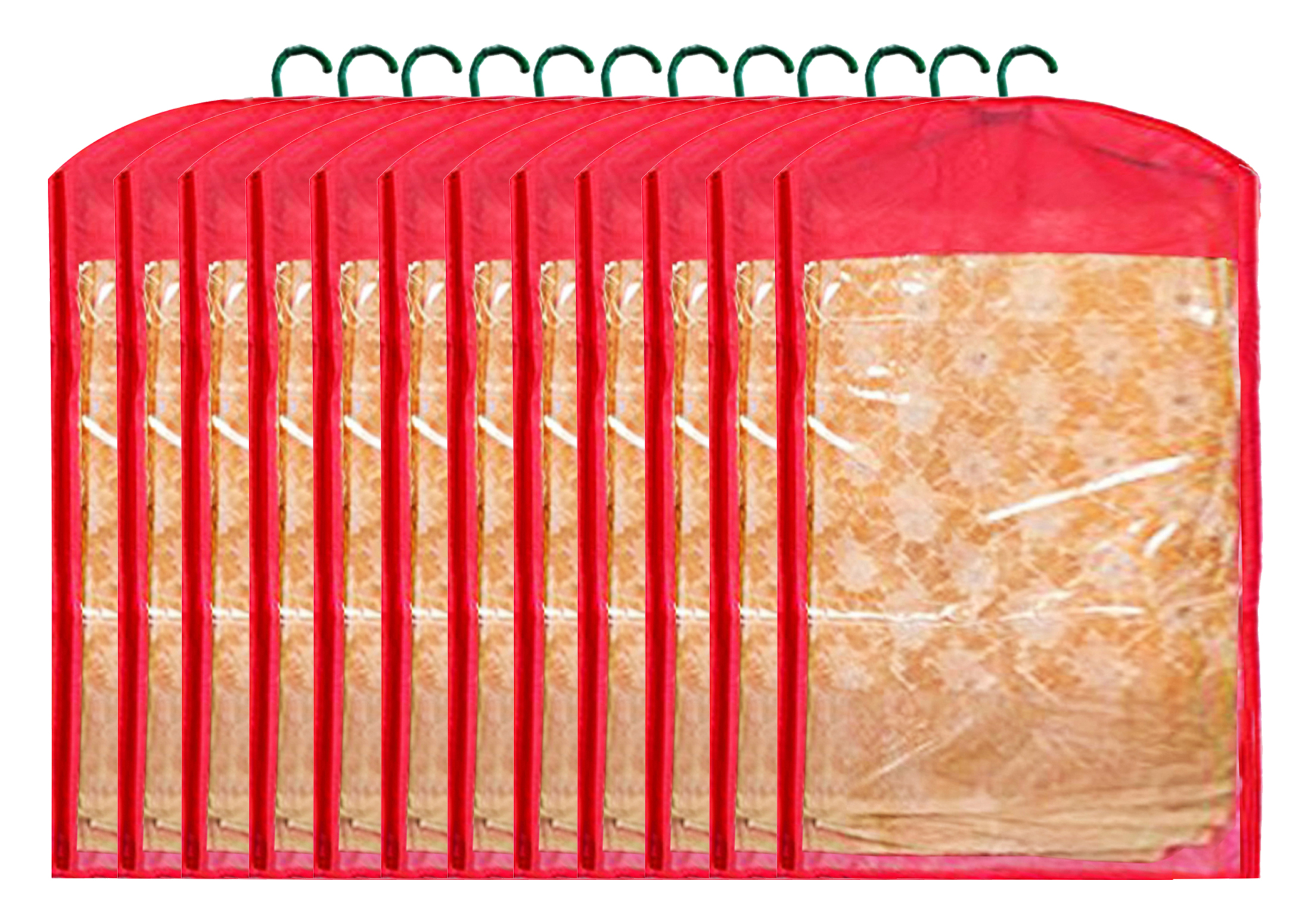Kuber Industries 12 Pieces Non Woven Hanging Saree Cover Wardrobe Organiser With Hanger  Red    CTHH14699