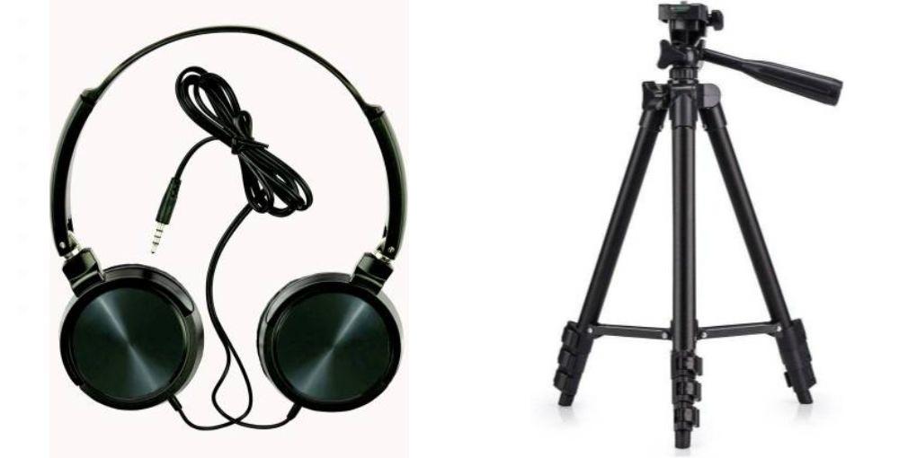 Tempo Wired headphone and 3120 CameraMobile Tripod|| Wired Headphone || _njhd4542