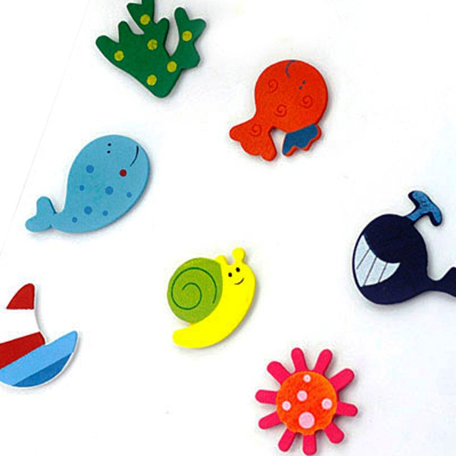Neo Rising Fridge Magnet Wooden Stickers Cute and Beautiful.  Vivid Color Thin Shapes Mix 6 Pcs .