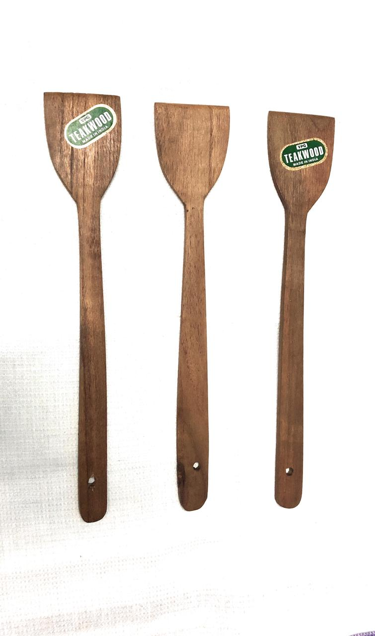 Wooden Flat Ladle   Karandi for Kitchen   set of 3 nos.