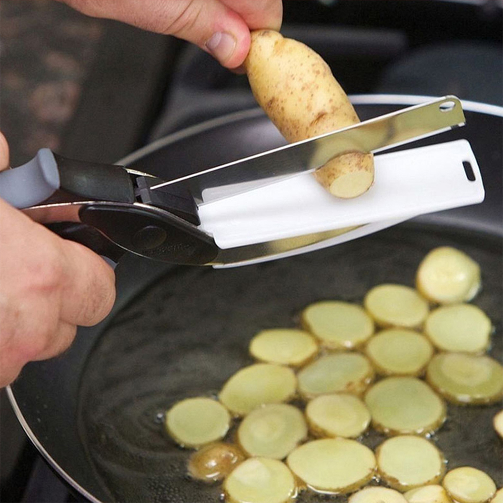 2In1 Multi Function Kitchen Scissors Cutter KnifeBoard Stainless Steel Kitchen Knives Meat Potato Cheese Vegetable Cut