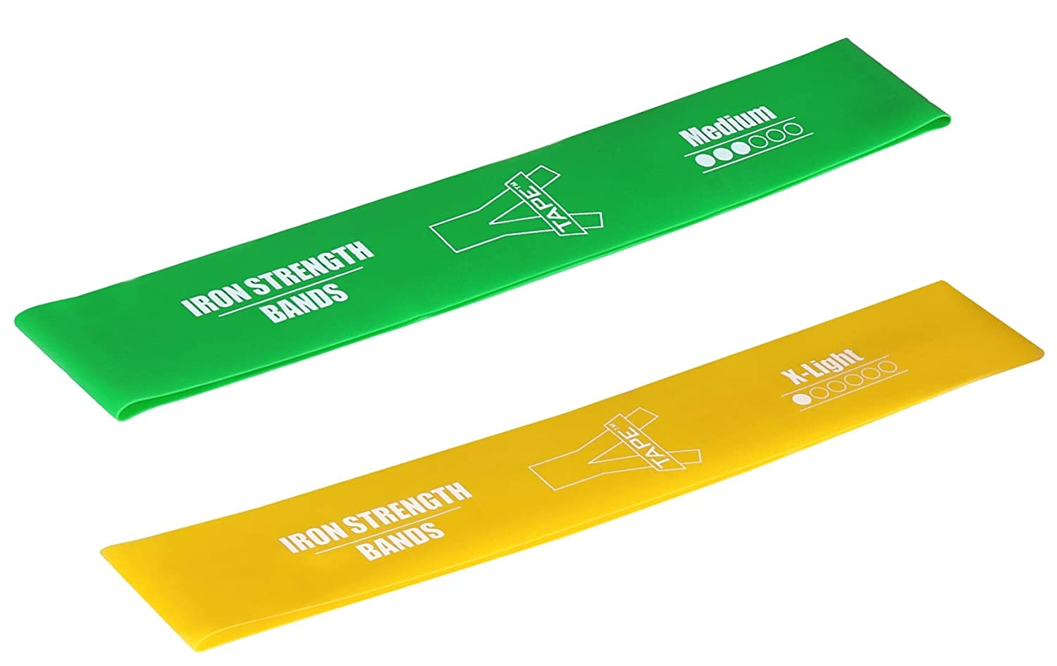 A Tape Exercise Sports Loop Band Medium X Light  Green Yellow, Pack of 2  Resistance Band