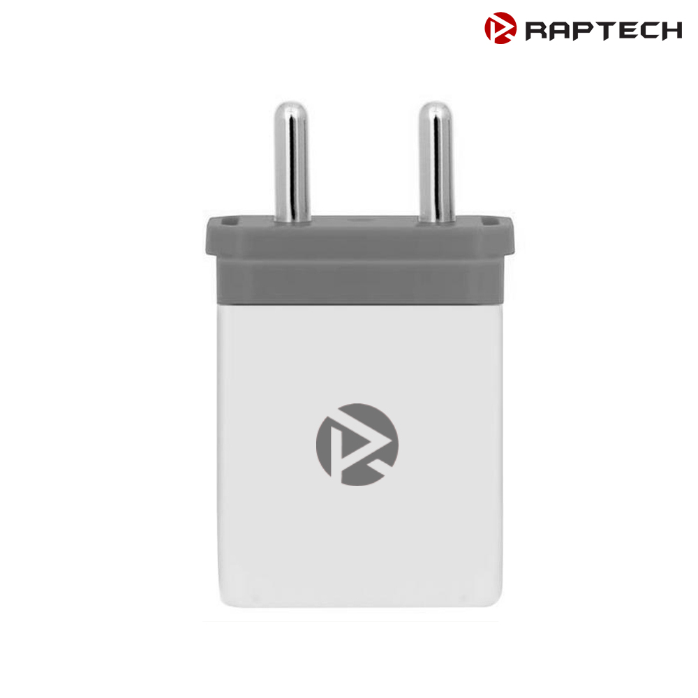 Raptech Dual USB 2.1 amp Maximum 2.4 amp Fast Wall Charger + 2 Charge White Grey