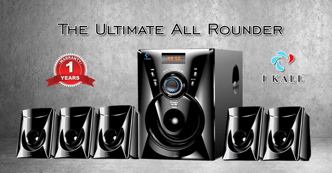I KALL TA 111 Portable 5.1 Channels Home Audio Speaker with USB Port and Aux Cable  5000 Watts PMPO, Black