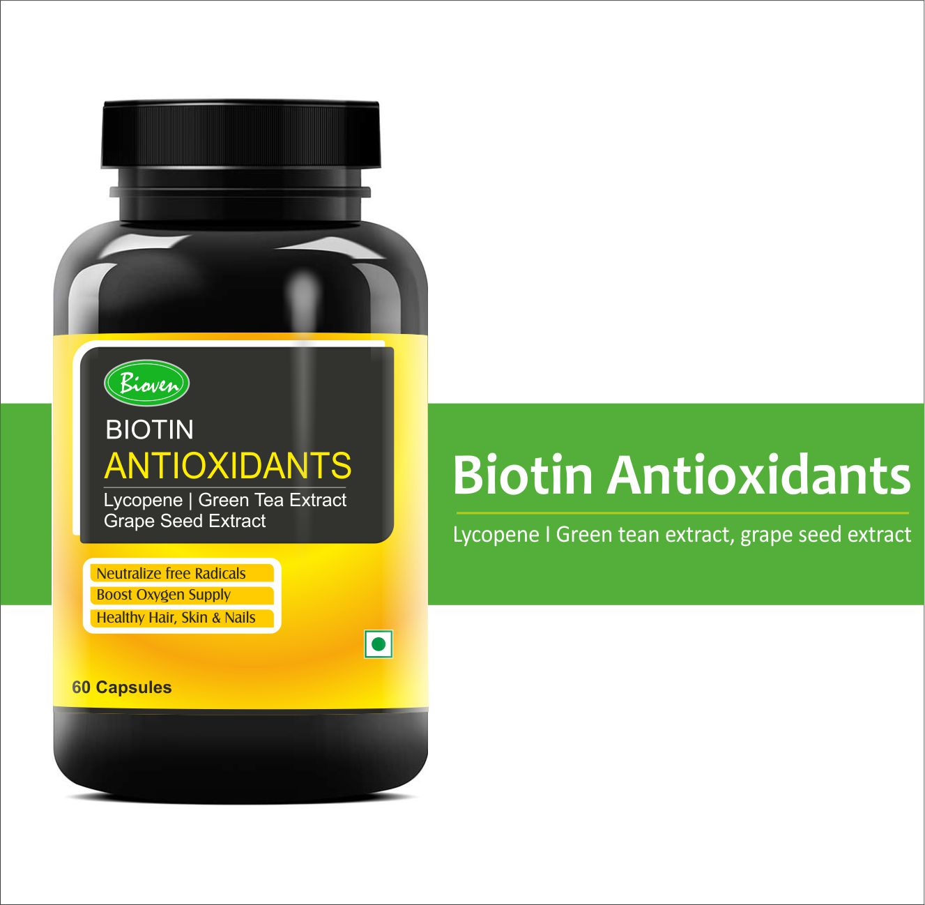 Biotin Antioxidants Support the Health of Skin and Hair, 60 capsules