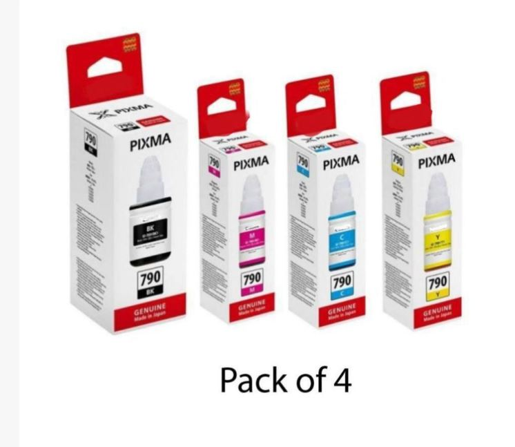 Canon GI790 INK Bottle Multicolor Pack of 4 Ink bottle forUse Pixma G1000, G2000, G3000