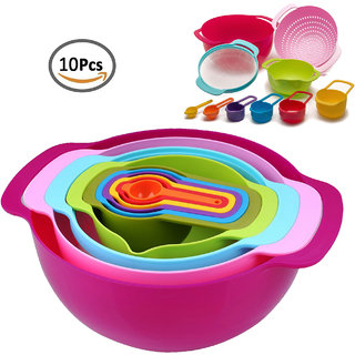 Plastic Mixing Bowl Set  10 Pcs  with Measuring Cups and Spoons, Colander, Sieve Large Bowls, Best for Kitchen
