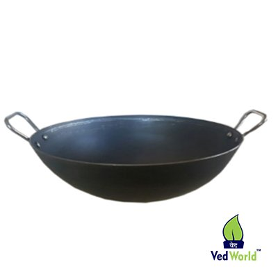 Ved world PURE IRON KAAN KADHAI Lokhand  7 INCHES