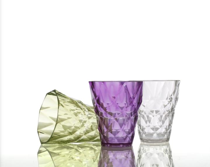 Diamond Glass Set Unbreakable Stylish Transparent Glass Set  250 ml,Pack of 6  Glass Set  250 ml, Plastic