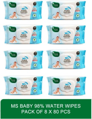 Mother sparsh baby softsensitive skin care water based wipes   Baby 98 Water Wipes 80 Pcs 1x80wipes  pack of eight