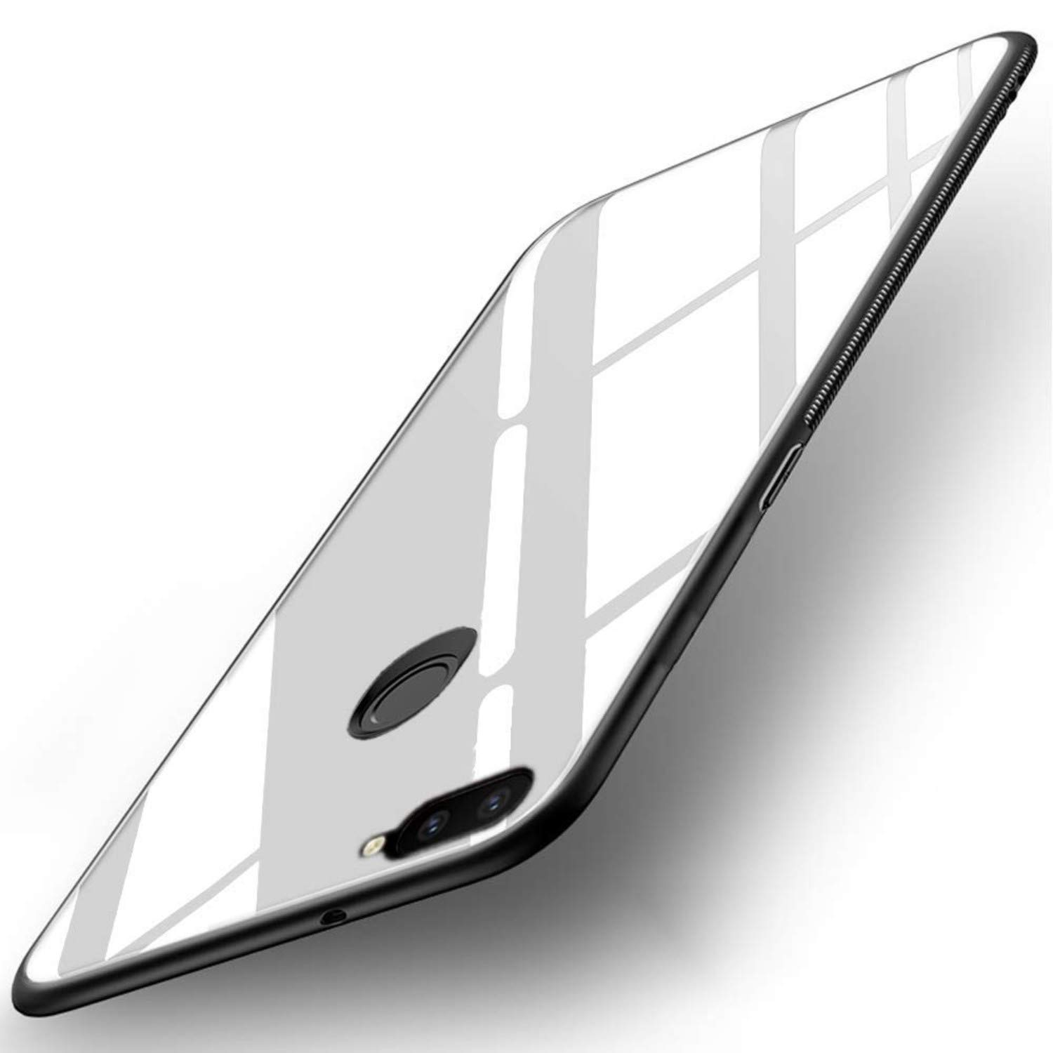 Americhome Glass back side rubber back cover for OnePlus 5T  white