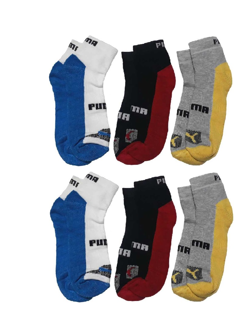 PUMA MEN WOMEN ANKLE LENGTH MULTICOLOUR SOCKS FOR OFFICE, SCHOOL, PARTY AND TRANING  PACK OF 6