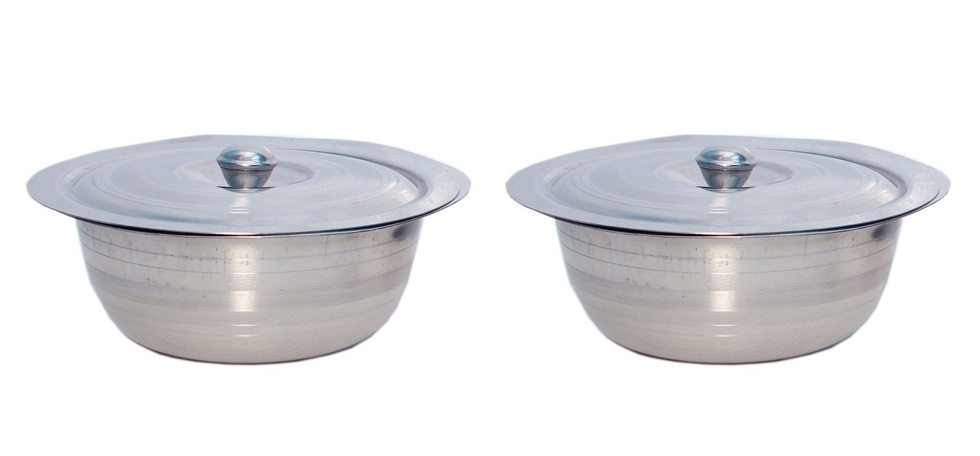 AH Stainless Steel Set of 2 Pcs Serving Bowls With Lid   Dongas   For Serving Dishes   Steel Color