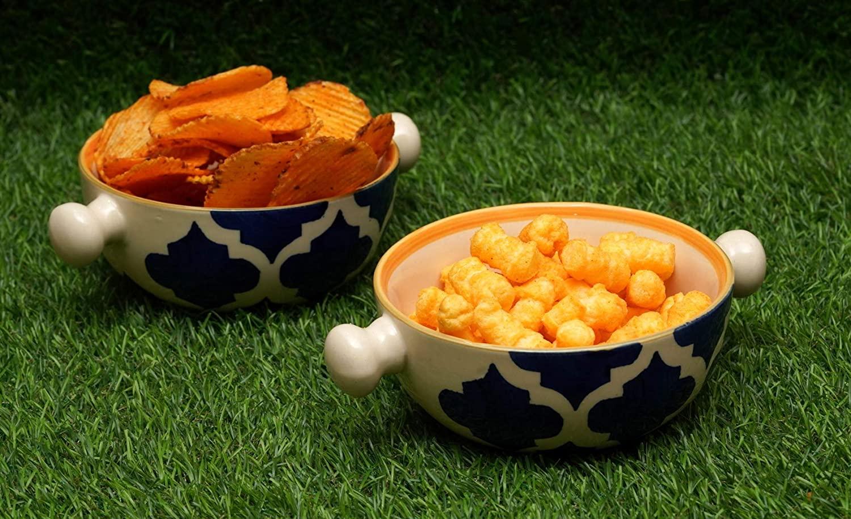 Tailos Handled Ceramic Bowl Set of 2 Pieces  CER05A2