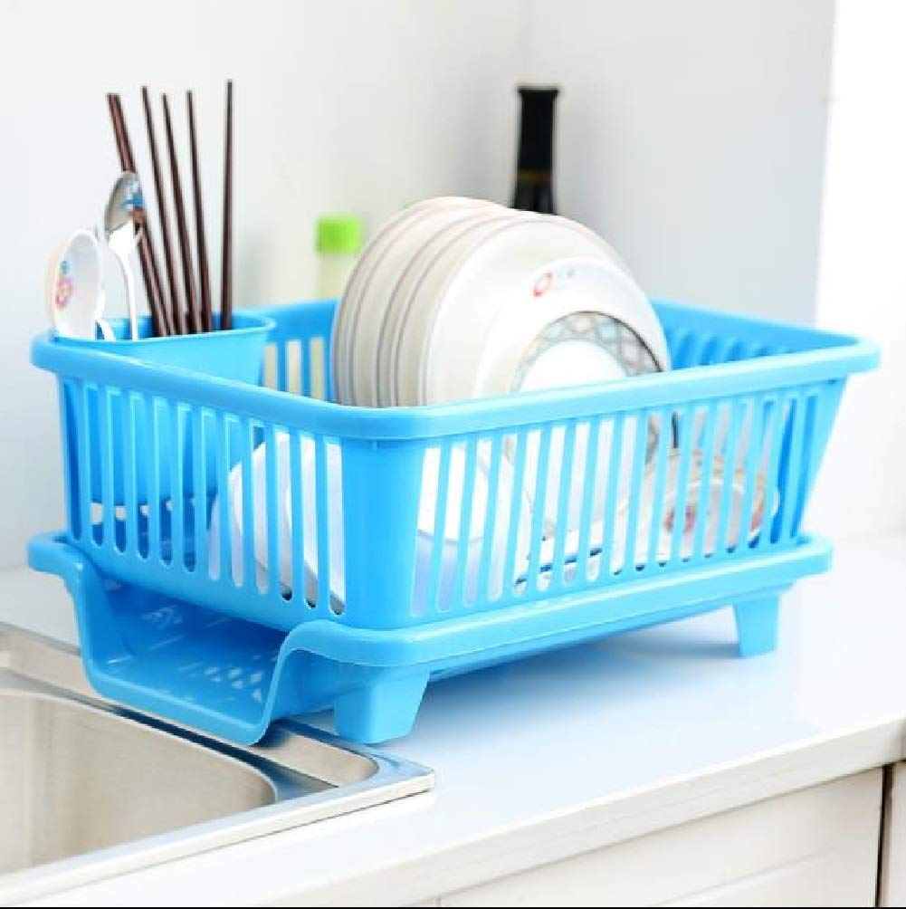 Nueva 3 in 1 Large Durable Plastic Kitchen Sink Dish Rack Drainer Drying Rack Washing Basket with Tray for Kitchen