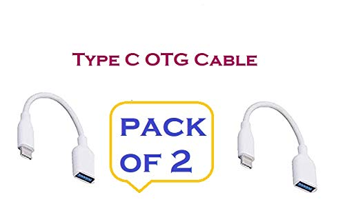 Generic 2.0 USB Type C to USB A Connector OTG Cable Adapter Compatible for All Type C Smartphones Mobile Pack of 2