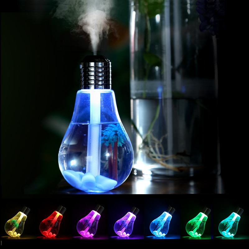 Crystal Digital Bulb Humidifier Multi Color Changing Portable Room Air Purifier
