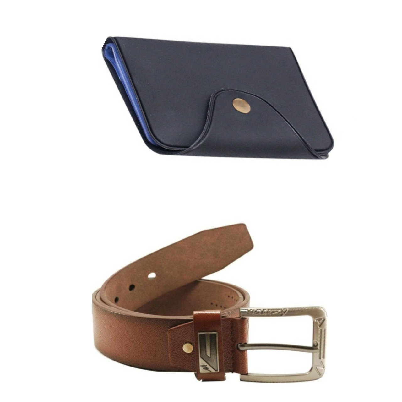 d mall combo of 2 formal casual black card holder   belt for men  Synthetic leather/Rexine
