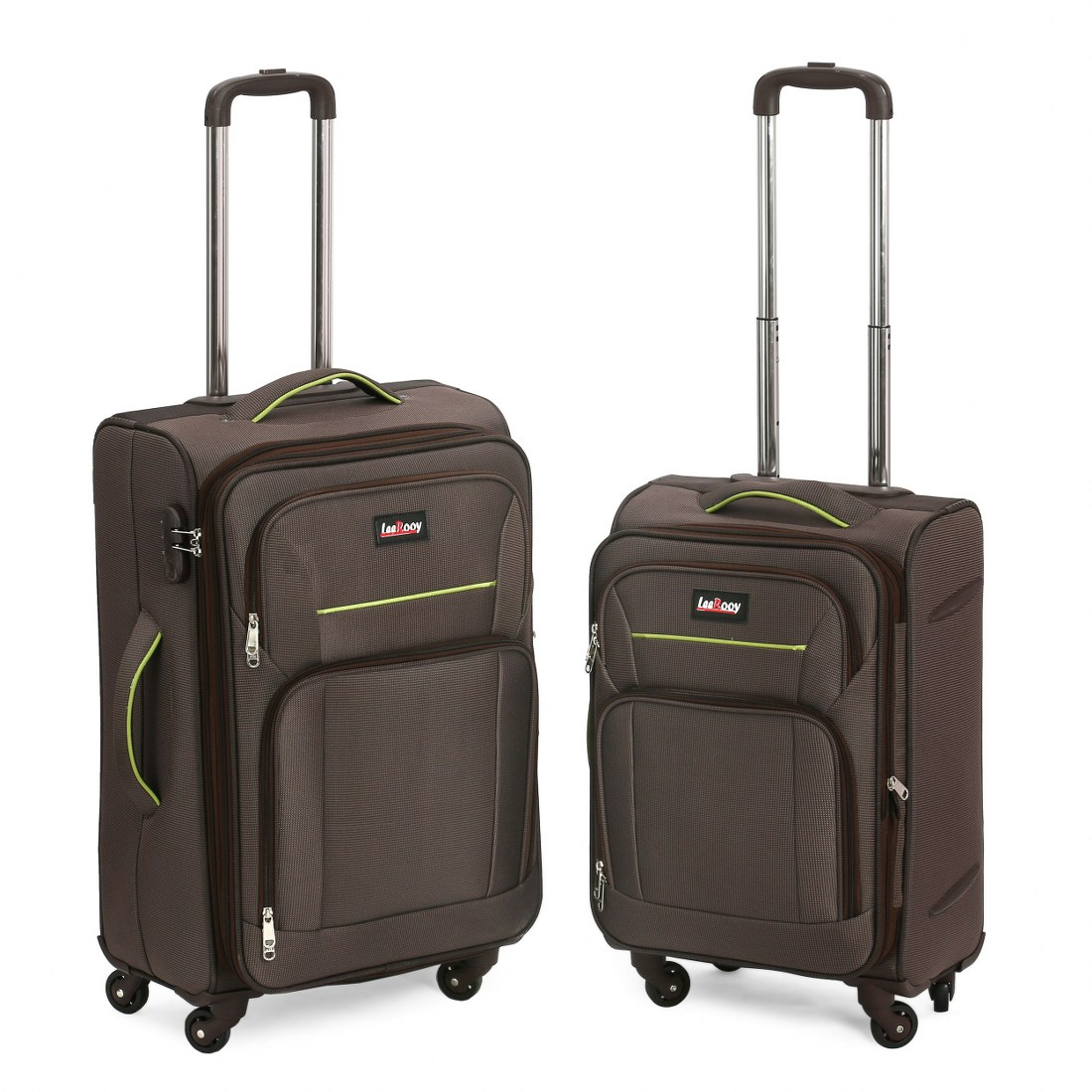 Brown colour 2 Front Pockets 4 Wheel Trolley Luggage Bag  Combo Set of 2  Polyester Suitcase/Luggage/Trolly Bags