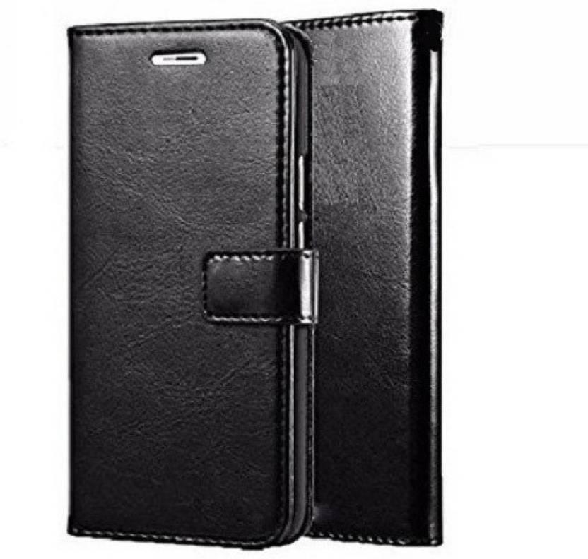GADGETWORLD Luxury Leather Flip Case for Moto E4 Plus   Attractive Black