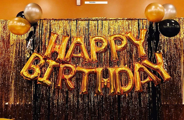 Happy Birthday Alphabets Letter Foil Balloon  Golden 13 PCS  + 2 Pcs Gold Fringe Curtain  3 X 6 Feet  + Pack of 50 pcs
