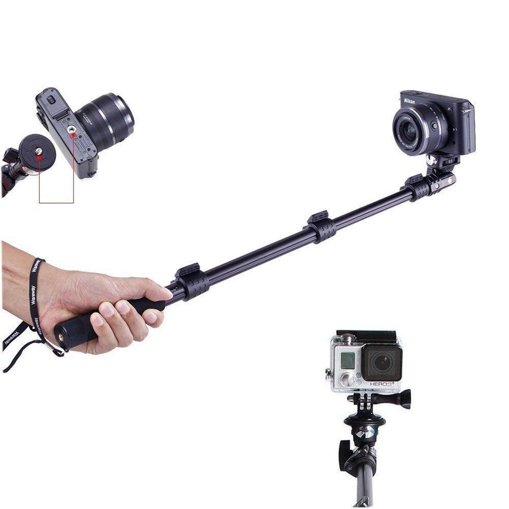 Crystal Digital YT 1288 Aluminium Alloy Extendable Selfie Stick with Bluetooth Remote Shutter Black