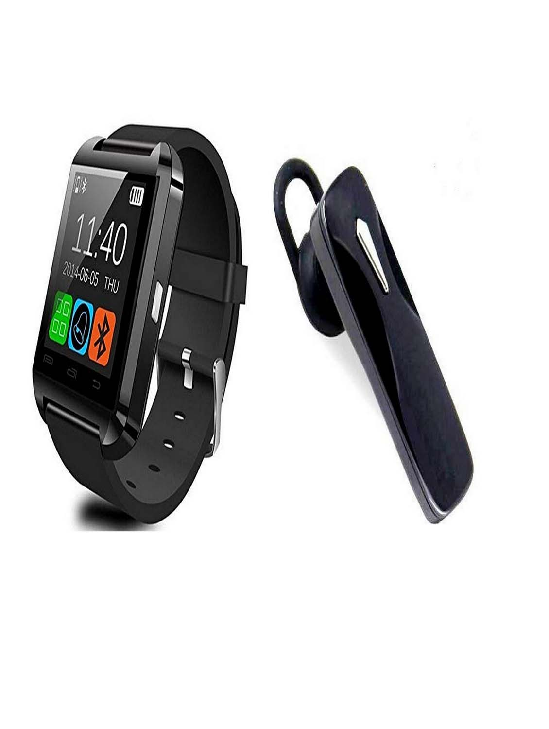Bushwick Presents U10 Bluetooth Android IOS, Health Fitness Black Smartwatch With K1 Bluetooth Headset With Mic.