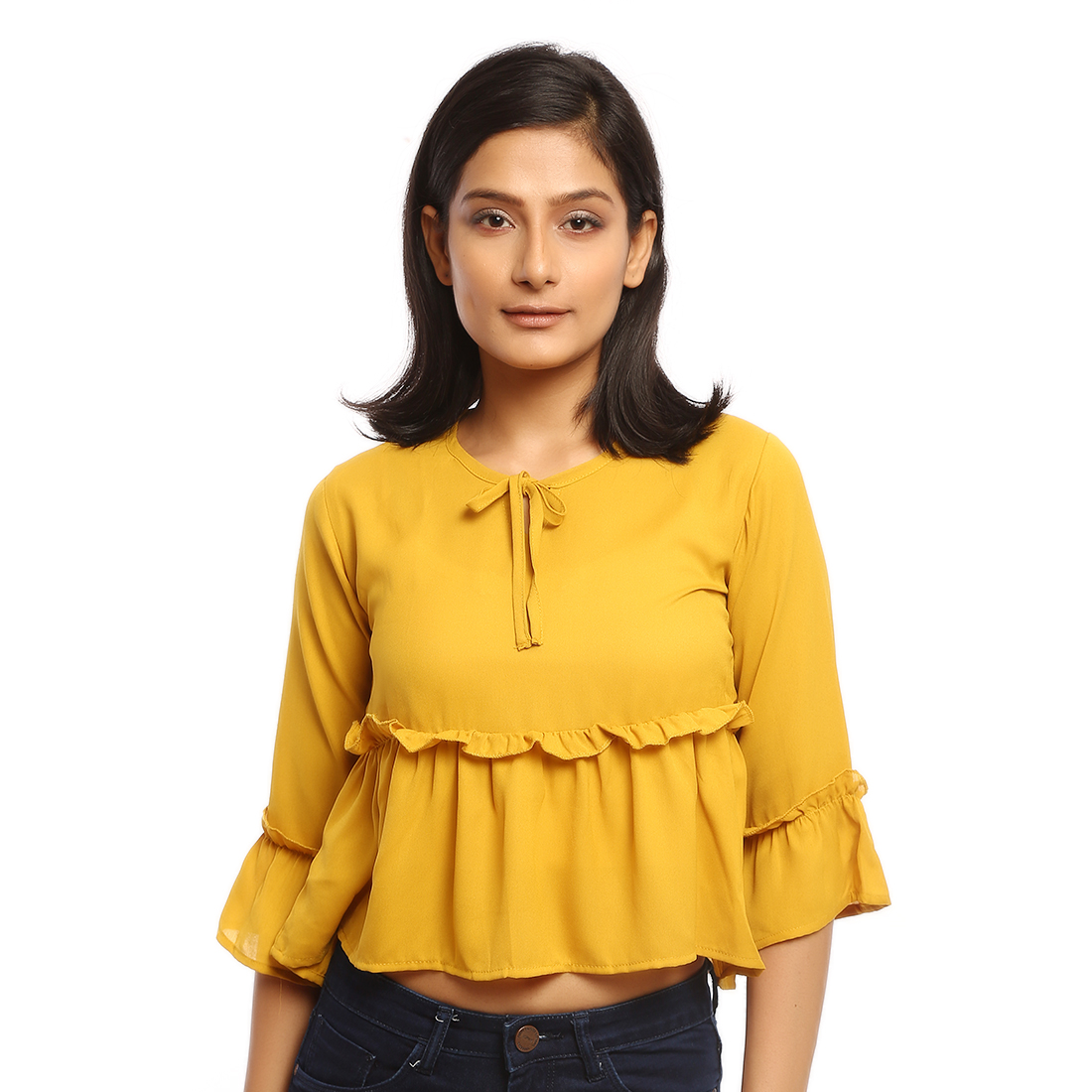 Casual Flared Sleeve Solid Women Yellow Top