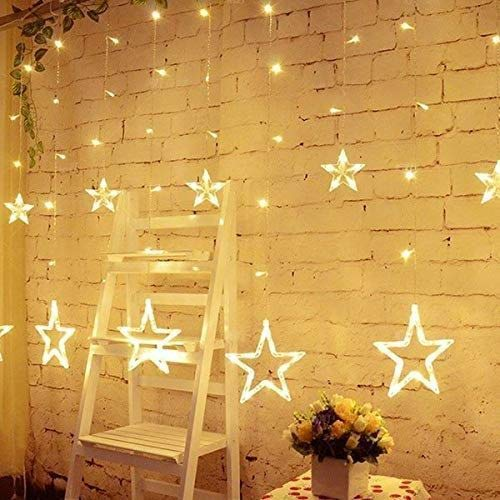 Star Light Curtain, String Lights Hanging Golden Stars, Flashing Modes, Decoration for Birthday  Warm White