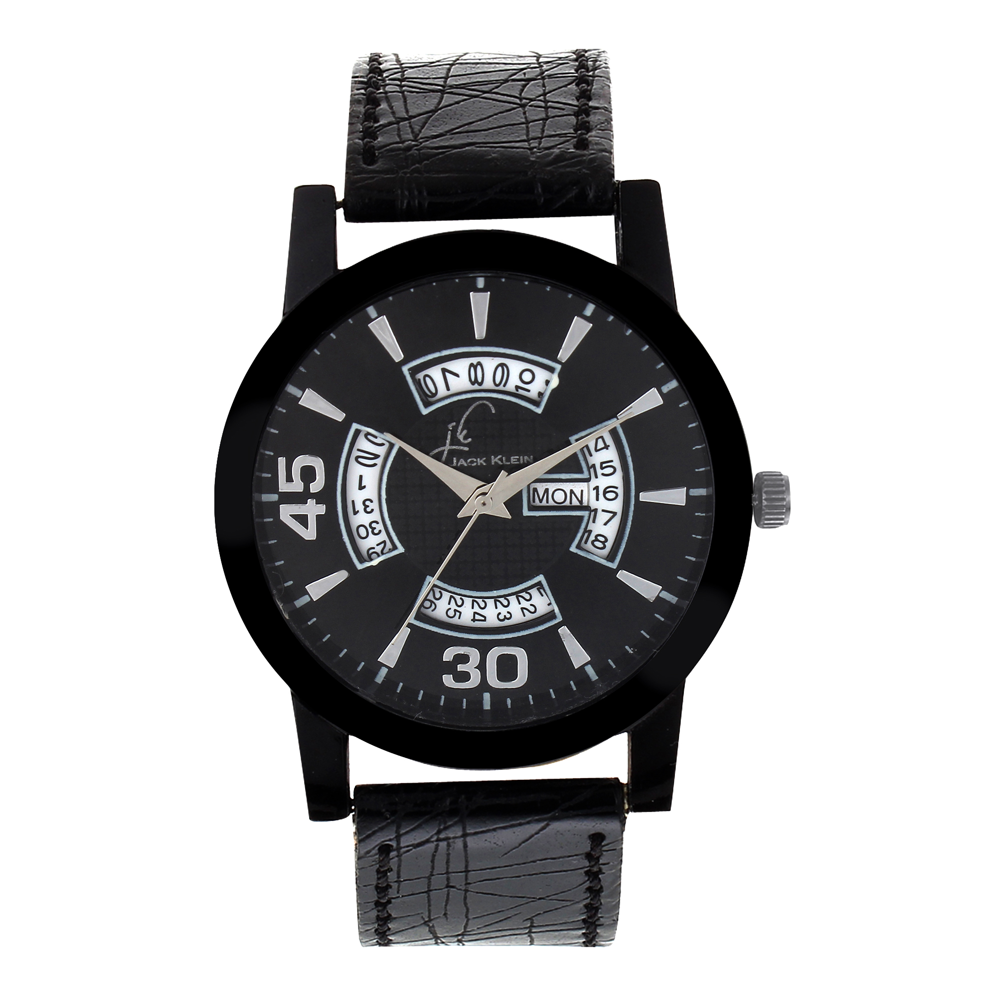 Jack klein Trendy Black Multi Function Day And Date Working Wrist Watch