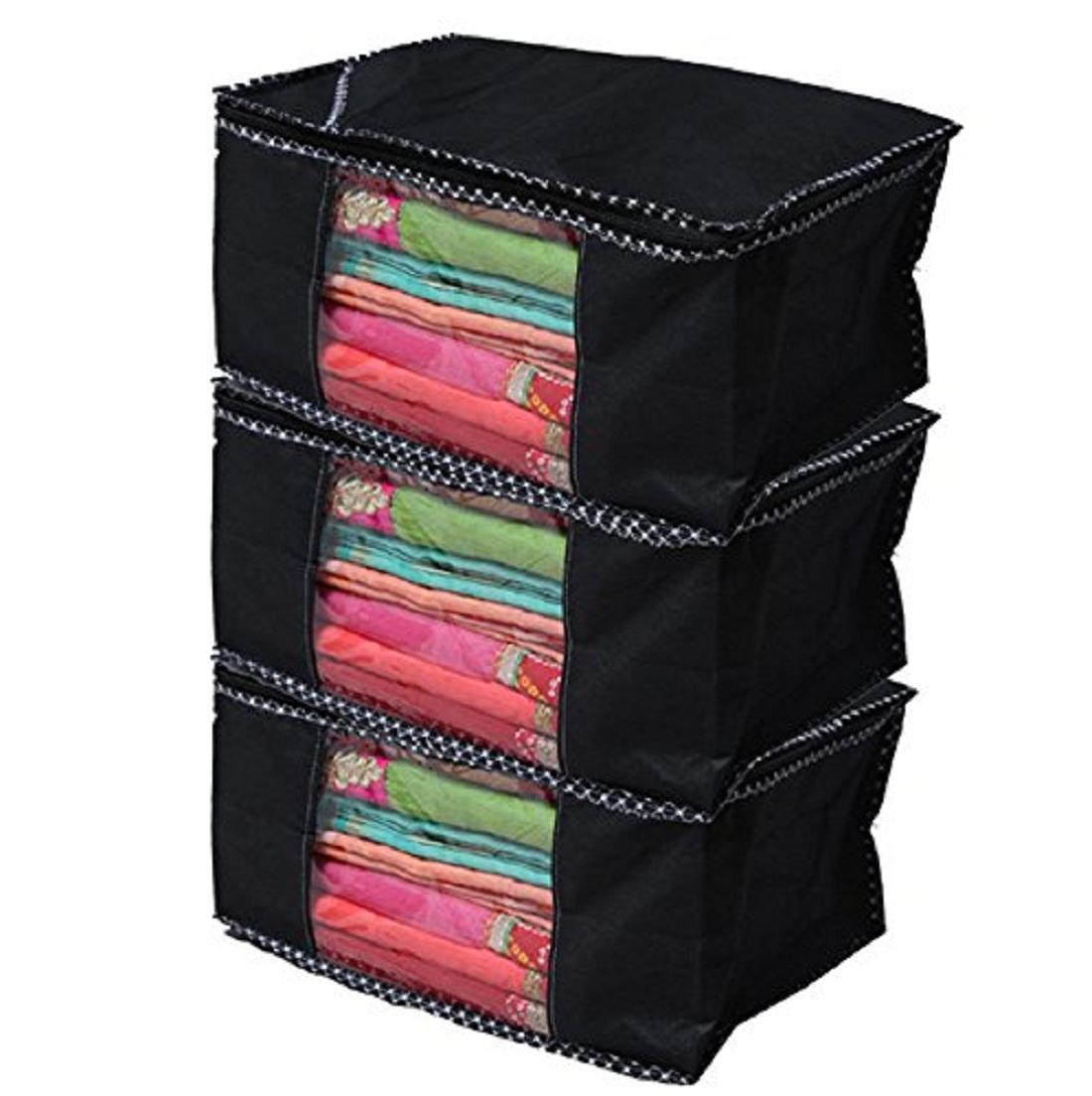 saavi creation designer saree cover/saree bag set of 3 pcs combo SCBLACK03  Black