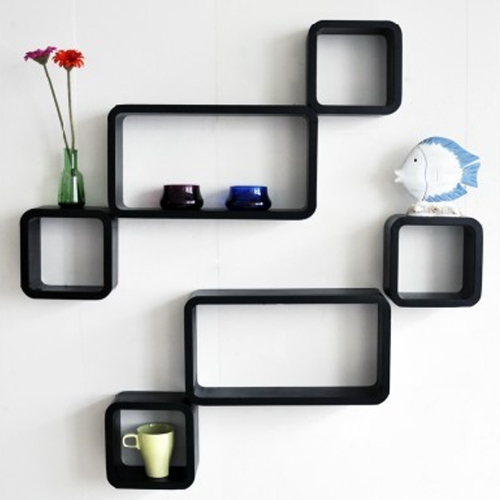 The New Look Wooden Wall Shelf  Number of Shelves   6, Black