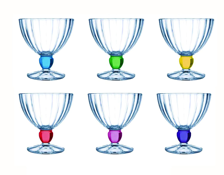 Luminarc Quadro Rainbow Glass Ice Cream Cup Set, 300ml, Set of 6, Multicolour