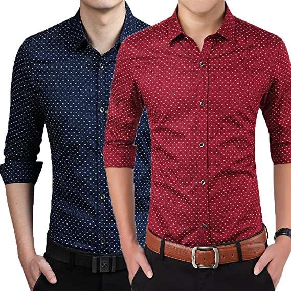Pack Of 2 Printed Casual Cotton Shirts For Men's