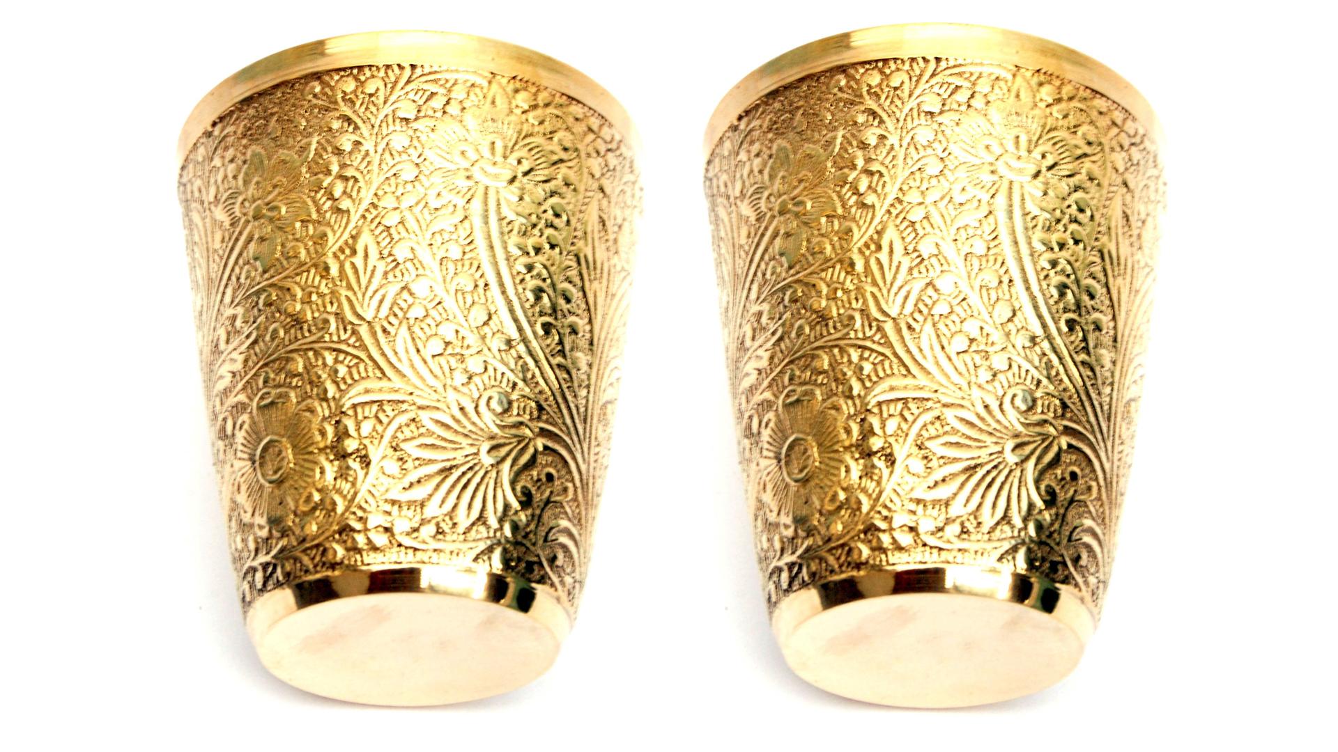 Brass Glass 220 ml, Golden set of 2