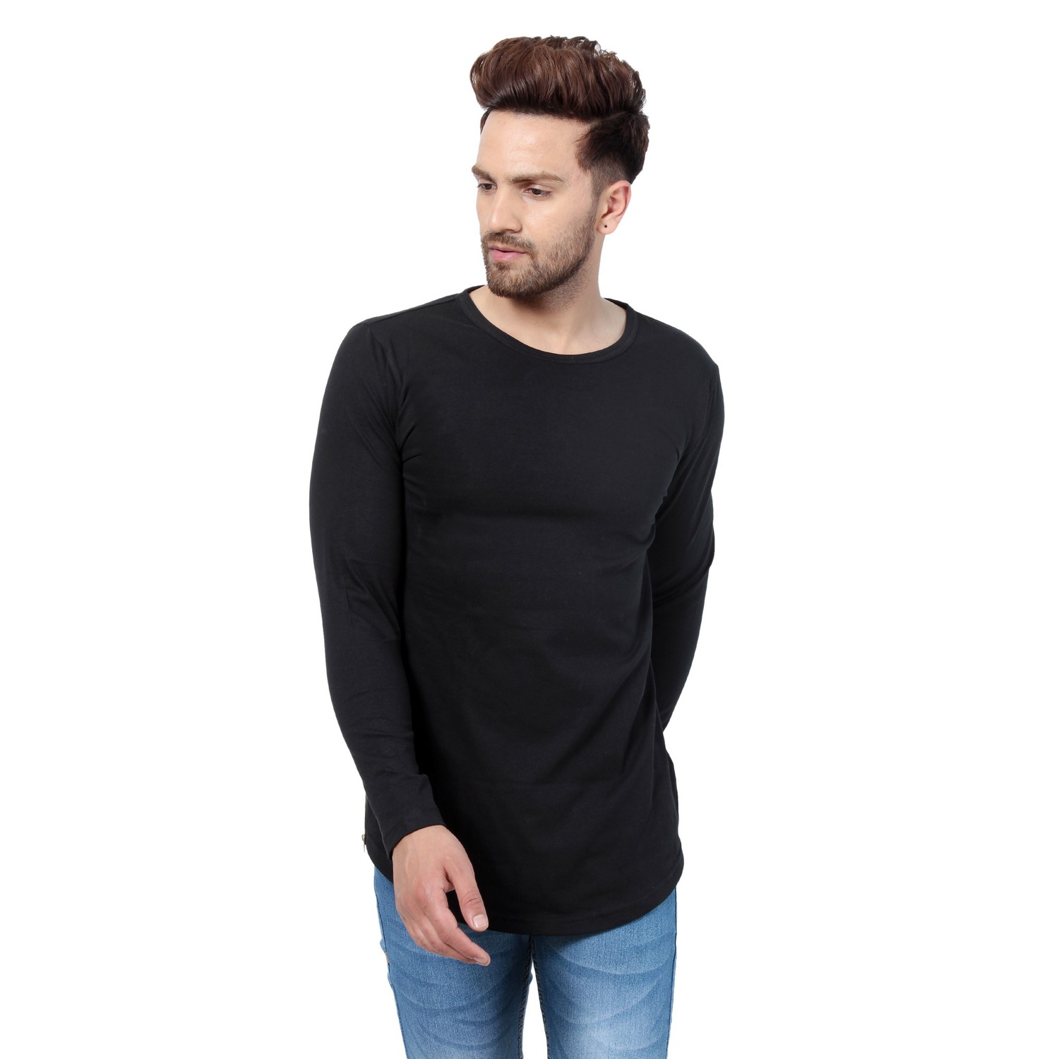 PAUSE Black Solid Cotton Round Neck Slim Fit Full Sleeve Men's T Shirt
