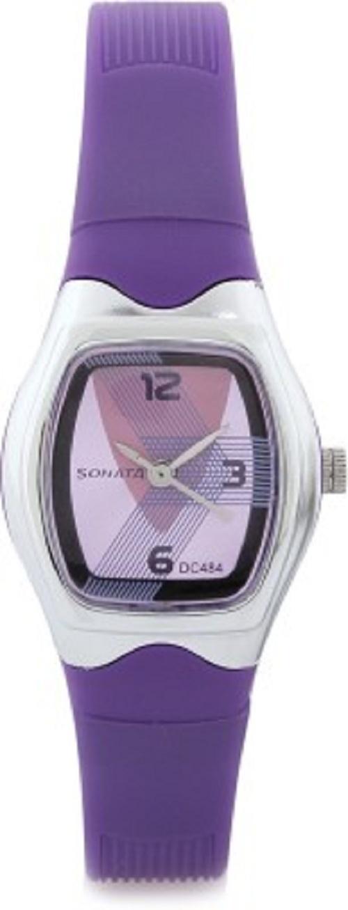 sonata contemporary dial purple watch p01